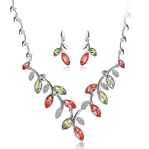 MKHDD Frauen österreichischen Kristall Waterdrop Blume Blatt Halskette Ohrring Set Elegante Brautschmuck Set für Party Bankett - Aquamarin-geburtsstein-set