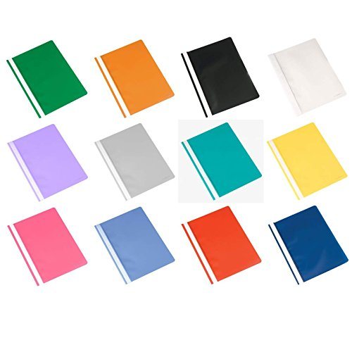 25 PAPIER-KOHLER Schnellhefter für DIN A4 aus Kunststoff Transparenter Vorderdeckel mit Beschriftungsfeld farbig sortiert