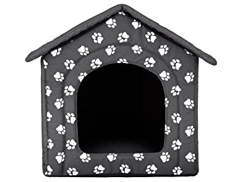HobbyDog Panier pour chien ou chat En forme de niche Motifs empreintes de pattes