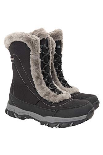 Mountain Warehouse Botas de Nieve para Mujer de Ohio: Zapatos de Invierno a Prueba de Agua, Parte Superior de Tela, Forro y Suela de Goma Isotherm Transpirable y Duradero Negro 41
