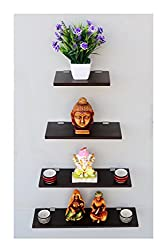 Madhuran Display Wall Dcor Shelf Wenge Set of 4- 12 (20.30.40.50) CM / Wooden Decorative Decoration Dining Dark Storage Shelves Stand Slabs Showcase Statues Shower Stellar Mounted Mdf Multipurpose Counter Cupboard Chest Cabinet Home Holder Kitchen Keeping Rectangular Racks Room Ladder Living Floating Brown Black Book Bed Organizer Office Perfect Place Photo Frames Utility Trophy Captiver Series