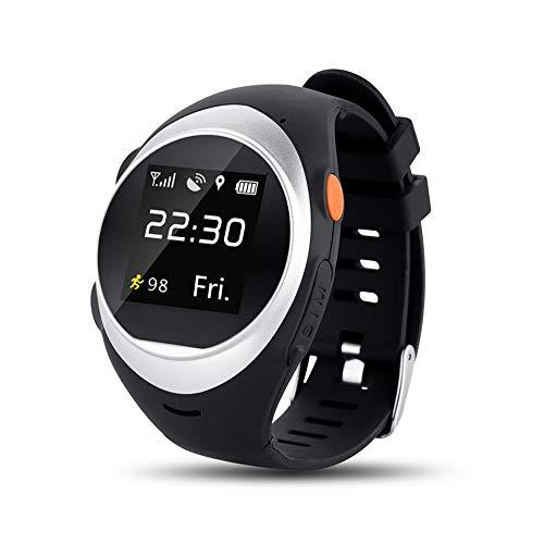 HKFV Telefonuhr WiFi Tracking System SOS GPS Armband-Telefon Uhr Alter Mann Anti-Fallen-Alarm Smart Watch (Silber) (Quadband Handy Uhr)
