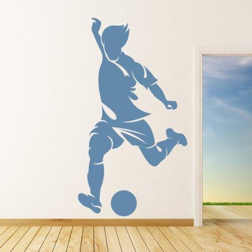 Calcio Attaccante Wall Stickers Sport Adesivo Art disponibile in 5 dimensioni e 25 colori Piccolo Blu Reale