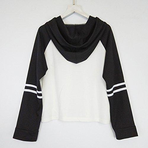 Abbigliamento Autunno Coulisse Colore Incantesimo Sciolto Ricamo Floreale Sottile Bianco E Nero Felpa Con Cappuccio White
