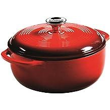 Lodge 4,35 litros/4,6 quart hierro fundido/olla de hierro fundido esmaltada de porcelana/cacerola, rojo