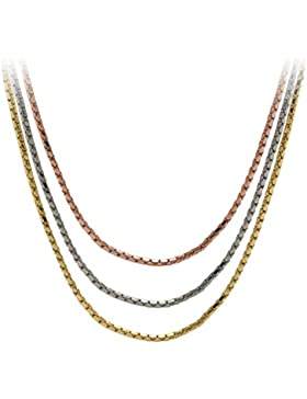 Rosegold Kette Ketten Tricolor Halsketten Set Choker Gold Silber Farben 38 cm lang
