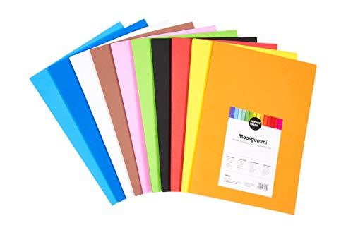 perfect ideaz 30 Blatt DIN-A4 Moos-Gummi bunt, Schaumstoff-Platten in 10 verschiedenen Farben, 2 mm Dicke, buntes Schaum-Gummi farbig, Foam-Set zum Basteln, DIY-Bedarf, Moosgummi-Matte für Kinder - Papier Platten Gelben Hellen Die