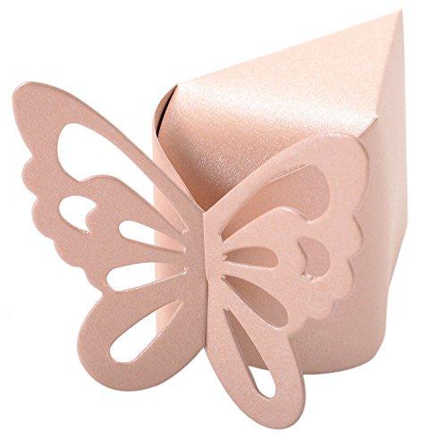 Schmetterlings-Bevorzugungs-Suessigkeit-Geschenk-Boxen Kuchen Stil Hochzeit Dusche Baby (Rosa) (Hochzeits-kuchen-bevorzugung Boxes)