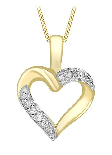 Carissima Gold 9ct Yellow Gold Diamond Open Heart Pendant on Chain Necklace of 46cm/18""