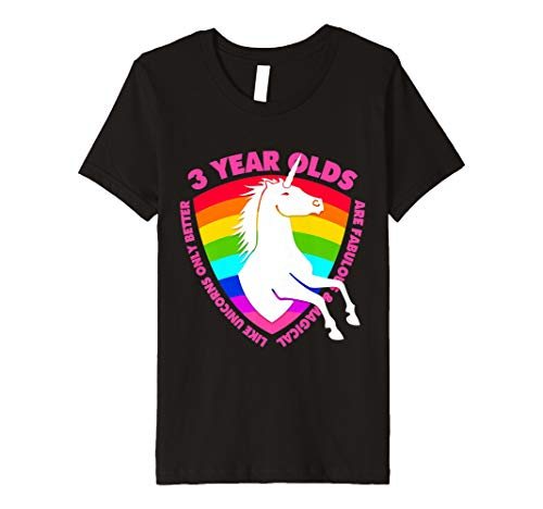Youth Unicorn 3rd Birthday Shirt For Girls 3 Year Old BDay Gifts