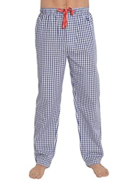 El Búho Nocturno Pantalón de Pijama Largo Moderno a Cuadros de Caballero/Hombre - Popelín, 100% Algodón - Color...