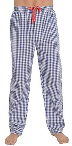 Mädchen-seiden-pyjama (El Búho Nocturno - Herren Lange Karierte Pyjamahose | Schlafanzughose, Klassische Nachtwäsche für Herren - Popeline, 100% Baumwolle - Größe XL - Blau und weiß)