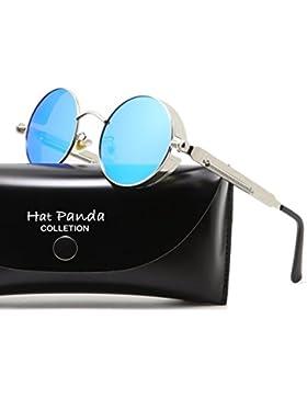 Hat Panda Steampunk estilo retro inspirado círculo metálico redondo gafas de sol polarizadas para hombres