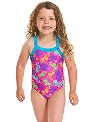 Zoggs Girls' Sea Unicorn Ruffle X Back One Piece Swimsuit