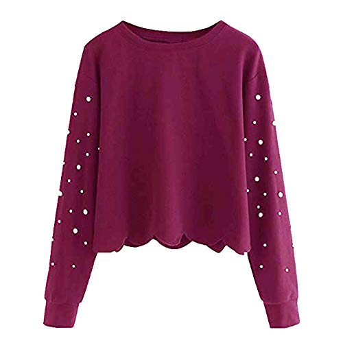 Damen Bluse,Geili Frauen Herbst Elegant Perlen T Shirt Damen Langarm Rundhals Bluse Sweatshirt Lose Crop Top Oberteile