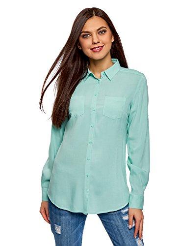 oodji Ultra Damen Bluse mit Brusttaschen und Verstellbaren Ärmeln, Türkis, DE 42 / EU 44 / XL