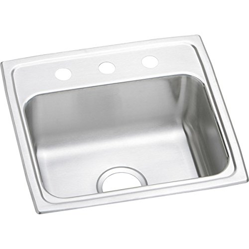 Elkay LR19181 1-Hole Gourmet Lustertone Stainless Steel 19-Inch x 18-Inch Single Basin Top-Mount Kitchen Sink by Elkay