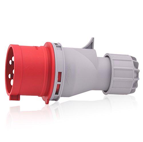CEE-Starkstrom-Stecker Intratec 32A 400V 6h IP44 (spritzwassergeschützt) 5-polig (3P+N+E): IEC-60309 Industrie- und Mehrphasenstecker robuste Industriequalität ideal für den schwerindustriellen Einsatz