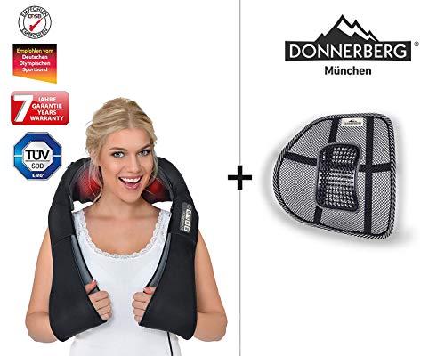Donnerberg® DAS ORIGINAL Nackenmassagegerät mit Wärme | Schulter Massagegerät für Nacken Schulter Rücken | Wohlfühlset Massagegerät & Lordosenstütze | Muskel Schmerzen | TÜV | Haus Büro Auto
