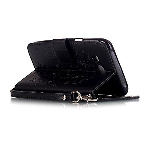 Hülle für iPhone 6 6S (4.7 zoll), Owbb Prägeartig Diamond Campanula Blumen Handyhülle PU Ledertasche Flip Cover mit Stand Function Innenschlitzen Design Weiß Lila(Ein freier Stylus als Geschenk) Schwarz