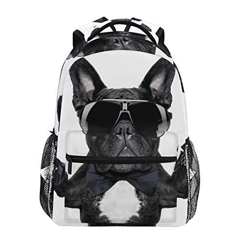 Französische Bulldogge mit Cocktail Victory Fingers Schulrucksack, große Kapazität, Canvas, lässiger Reise-Tagesrucksack, für Kinder, Erwachsene, Teenager, Frauen und Männer (Zu Machen Halloween-cocktails Leicht)