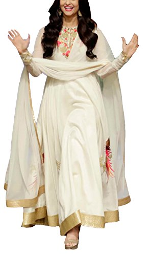 Clickedia Women's Heavy Georgette Embroidered Semi-stitched Cream Floor length Anarkali Suit - Dress Material  available at amazon for Rs.999