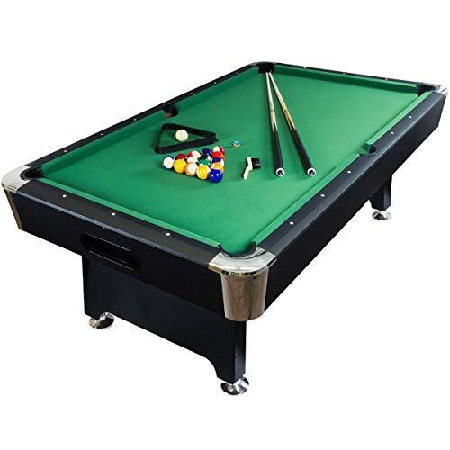 Feelcomfort Billardtisch California 8ft (Grün/Schwarz) Pool Snooker Schieferplatten inklusive Zubehörset