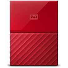 WD My Passport 4TB - Disco duro portátil y software de copia de seguridad automática para PC, Xbox One y PlayStation 4 - rojo