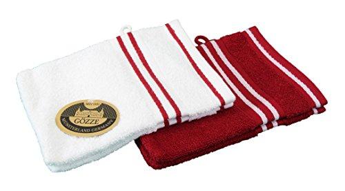 Gözze Waschhandschuh 4er-Set, 100% Baumwolle, 16 x 21 cm, Rio, Vollfarbig/Weißgrundig Rot, 140-33-A1 -