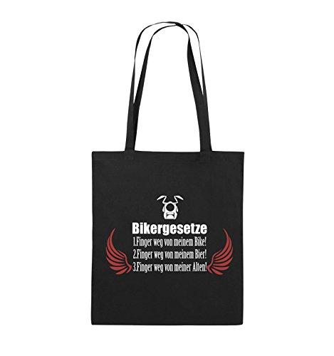 Comedy Bags - BIKERGESETZE - FLÜGEL - Jutebeutel - lange Henkel - 38x42cm - Farbe: Schwarz / Weiss-Neongrün Schwarz / Weiss-Rot