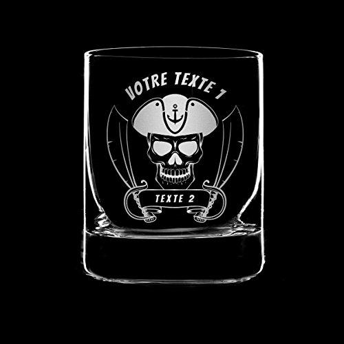 Glas Whisky-Gravur–Pirat–Gravur Kopf-Pirat–Sabre–Anker–Crane–squelette-barbu–30cl