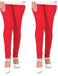 Dream Fashion Red cotton Lycra leggings For Women's (Pack Of 2)