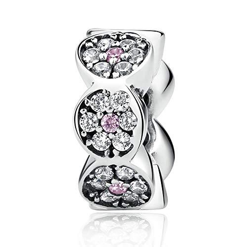 Rosa argento distanziatore nuovo arrivo 925argento Sterling chiaro CZ rosa argento distanziatori charms per braccialetto donne bigiotteria