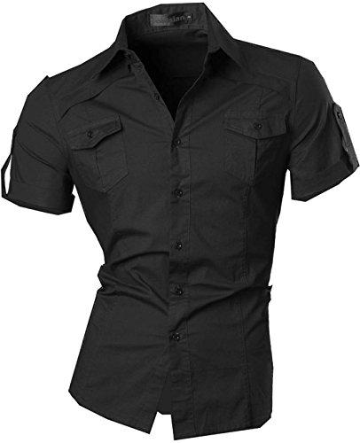 jeansian Herren Freizeit Hemden Shirt Tops Mode Kurzarm-shirts Slim Fit 8360_Black XL [Apparel]