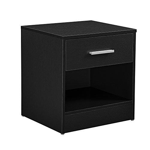 [en.casa]® Eleganter Nachttisch Nachtschrank schwarz +1x Schublade & 1x Ablagefach -