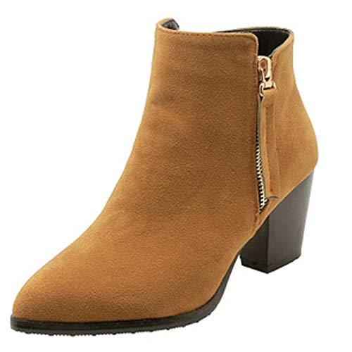 Dorical Chelsea Boots Stiefeletten Damen Kurzschaft Kunstleder mit Absatz Kurze Reissverschluss Bequem Stiefel Winter 6.5 cm Schuhe Schwarz, Gelb, Beige Gr 35-43 EU(Gelb,35 EU)