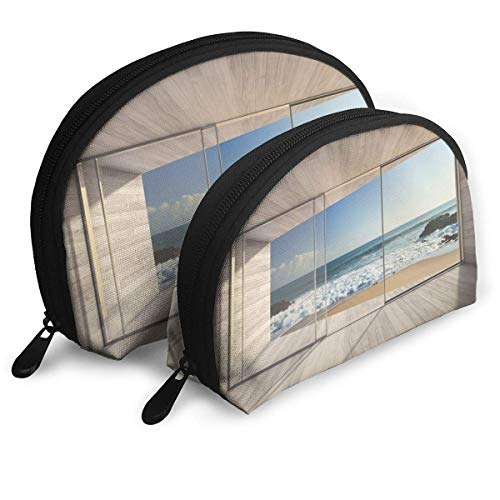 Lounge with Large Window and View of Sea Waves Rocks Shell Portable Bags Clutch Pouch Cosmetic...