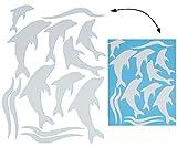 alles-meine.de GmbH 13 tlg. Set _ XL Fensterbilder -  Silber glänzende Delfine  - Sticker Fenste..
