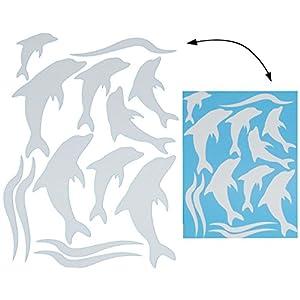 alles-meine.de GmbH 13 TLG. Set _ XL Fensterbilder – Silber glänzende Delfine – incl. Name – Sticker Fenstersticker…