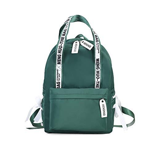 VICTOESimple Canvas Rucksack Damen Jugend Student Bag Fashion Nylon Rucksack Reisetasche Bow Lady Schultertasche, grün (Grün) - VICTOE-9518