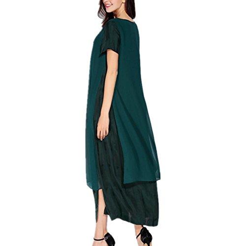 SHISHANG Robes Femmes Jupes fibres de polyester à manches courtes col rond vert été green