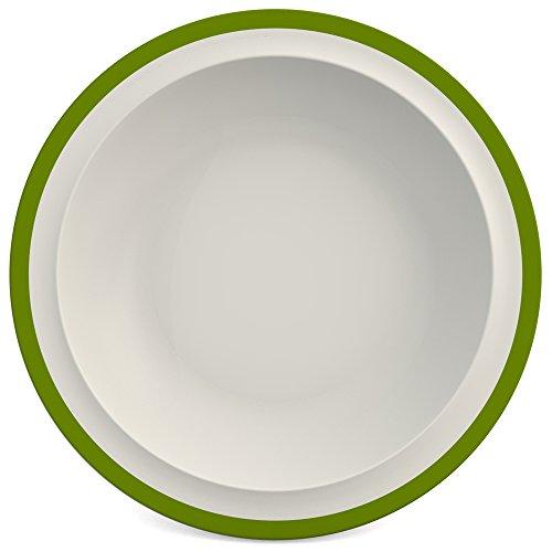 Ornamin Teller tief Ø 22 cm Rand grün, Melamin | tiefer hochwertiger, stabiler Kunststoffteller | robustes Alltags-Geschirr für Kinder, Camping, Picknick, Gemeinschaftsverpflegung, Großküchen, Institutionen | Speiseteller, Suppenteller