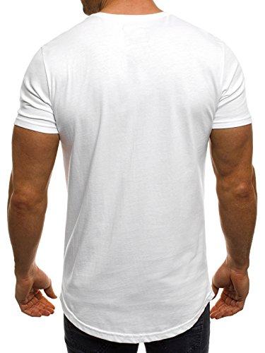 OZONEE Herren T-Shirt mit Motiv Kurzarm Rundhals Figurbetont ATHLETIC 1026 Weiß_BREEZY-293