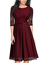 MIUSOL Damen Party Kleid Elegant Abendkleid Vintag Spitzen Cocktailkleid