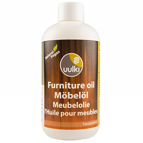 Preisvergleich Produktbild Uulki Natürliches Möbelöl für Innen  Umweltfreundliches Öl für Holzmöbel und Holzoberflächen in den Innenbereich  Holzöl für Möbel, Tische, Türen, Stühle  Pflegemittel ist 100% Pflanzlich / Vegan (250ml, farblos)