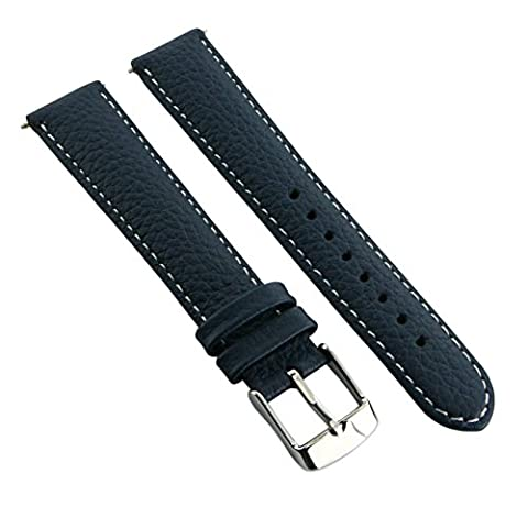 20mm Genuine Buffalo Grain Leather Watch Strap Band Mens Ladies Padded SS Buckle Blue/White