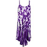 Mogul Interior Womens Tie Dye Dress Purple Beach Wear Strappy Flared Hem Dresses L