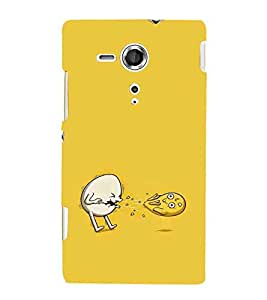 For Sony Xperia SP :: Sony Xperia SP HSPA C5302 :: Sony Xperia SP LTE C5303 :: Sony Xperia SP LTE C5306 two cartoon ( white cartoon, yellow cartoon, yellow background ) Printed Designer Back Case Cover By TAKKLOO