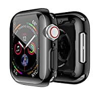 For Apple Watch Cover/Case 44mm Series 4,With Screen Glass Protective Shell, Physical Vapor Deposition TPU Watch Case - Black