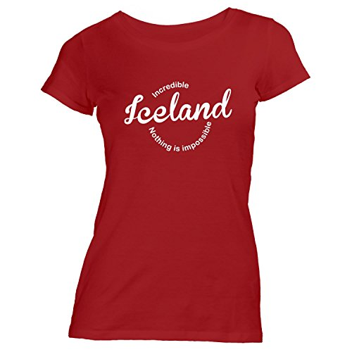 Damen T-Shirt - Incredible Iceland nothing is impossible - Fussball Island Football Fan Rot
